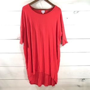 LULAROE Red-Orange Ribbed High Low Long Tunic Tee